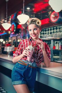 Woman with milkshake