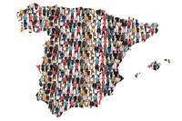 Spanien Karte Leute Menschen People Gruppe Menschengruppe multikulturell