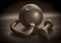 kettlebell and dumbbell - fitness concept