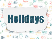 Entertainment, concept: Holidays on Torn Paper background