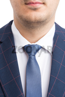 Elegant business suit shirt and necktie closeup