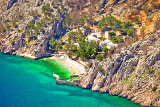 Idyllic beach and stone village on cliff of Biokovo mountain
