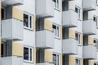 building facade, window and balcony pattern