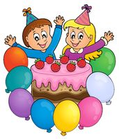 Cake and two kids celebrating image 3