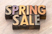 spring sale banner in wood type