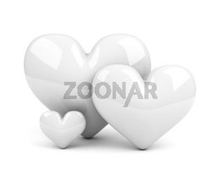 three white hearts. symbol of family