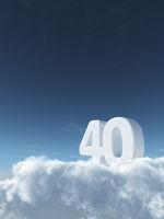 die zahl vierzig auf wolken - 3d rendering
