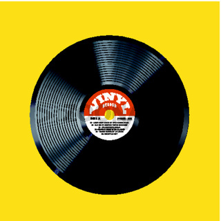 Vinyl record vector illustration. Photorealistic disc design on a yellow background