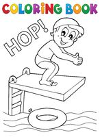 Coloring book boy jumping into water