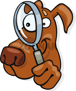 Dog with magnifying glass
