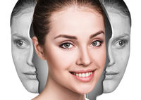 Woman rebirth from bad acne skin to perfect.