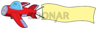 Airplane with advertising - isolated illustration.