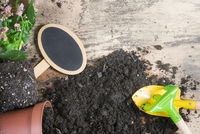 Repotting plants tools and a blank banner