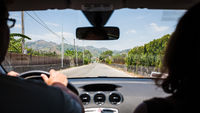 driving a car in country region in Sicily