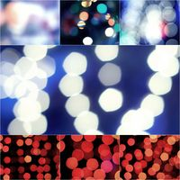 abstract blurred blue and red glittering shine bulbs lights background. Blur of Christmas wallpaper decorations. Xmas holiday festival backdrop:sparkle circle lit celebrations collage