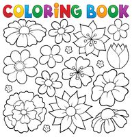 Coloring book flower topic 1