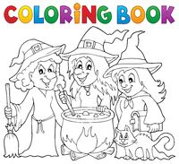 Coloring book three witches theme 1 - picture illustration.
