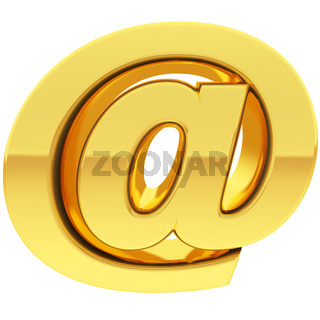 Gold commercial at or email sign with gradient reflections isolated on white. High resolution 3D image