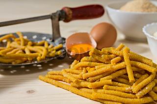 Closeup of Passatelli original Italian pasta