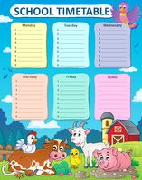 Weekly school timetable thematics 5 - picture illustration.