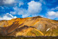 Volcanic multi-colored rhyolite mountains