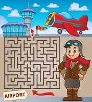 Maze 3 with aviation thematics 1 - picture illustration.