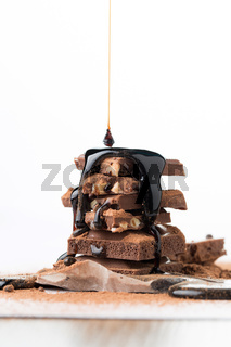 Chocolate tower with watered syrup