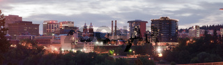 Panoramic View Spokane Washington Downtown City Skyline Sunrise