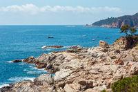 Summer sea stony coast view (Spain).