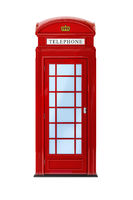 a typical London phone booth isolated on white