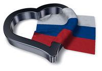flagge von russland und herz symbol - 3d illustration