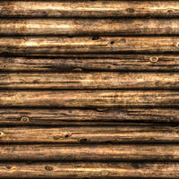 Wooden wall from logs - Grunge background texture