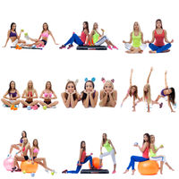 Set collection of sporty women exerxicing on white