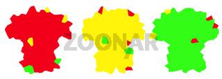 Koalition, Rot Gelb Grün Ampel;unregelmäßige Figuren.