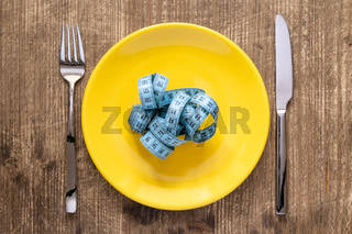Tape measure on a plate