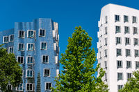 Closeup view of Frank Gehry's famous modern buildings at Neuer Zollhof in Dusseldorf.