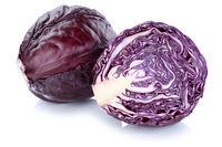 Blaukraut Rotkohl Kraut Kohl frisch geschnitten Gemüse Freisteller freigestellt isoliert