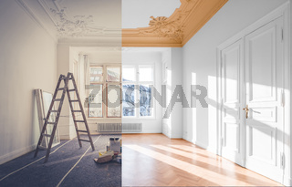 renovation concept - room before and after renovation ,