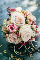 Pink roses bridal bouquet