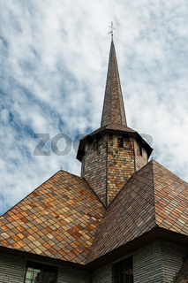 Closeup of the rooftop of the little church in Dombas village in Norway
