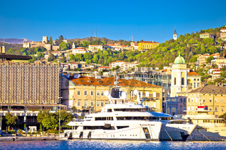 City of Rijeka waterfront and Trsat sanctuary view