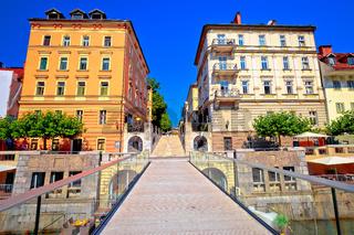 Ljubljanica river bridge and riverfront architecture of Ljubljana