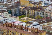 Plaza de Merced (Merced square) in Malaga, Andalucia, Spain. View from  Gibralfaro castle.