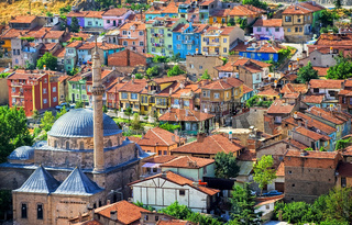 Colorful traditional ottoman houses, Afyon, Turkey