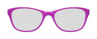 pink glasses on white background