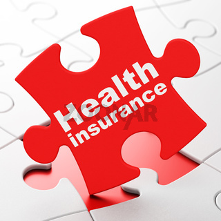 Insurance concept: Health Insurance on puzzle background