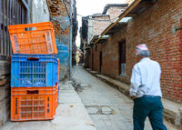 Small alley in Bhaktapur, Nepal