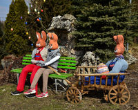 easter rabbits; dollies;  wainscoted;