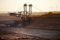 brown coal surface mining with bucket wheel excavator , Garzweiler, Juechen, Germany, Europe