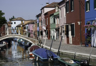 Colorful houses at small channel, Burano